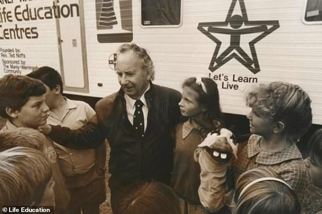 The idea to launch Life Education came to mind after founder Ted Noffs (centre in 1980) saw an opportunity to address health challenges through education