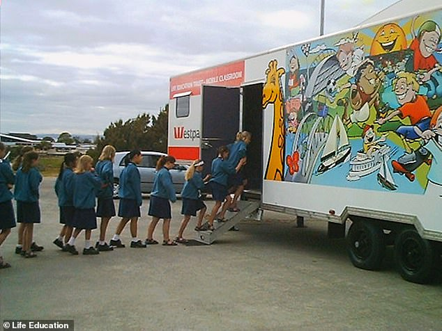 School children walking into the colourful van where Healthy Harold talks about the dangers of drugs and other health challenges through education (pictured in the 1990s)