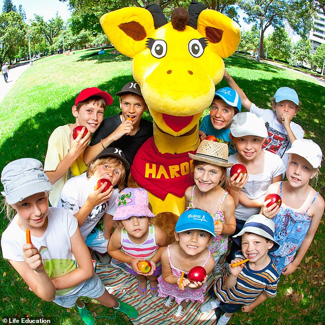 What Healthy Harold looks like today! Modern students today still get the opportunity to learn from the nation's much-loved giraffe