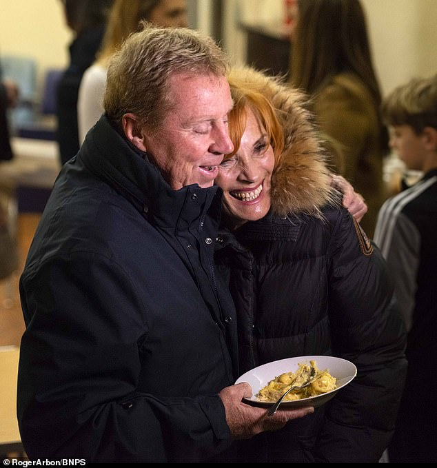 Harry and his wife Sandra (pictured above) had previously handed out Jam-roly poly pudding to rough sleepers just down the road from the hotel