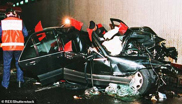Above is the photo shown to the jury during the coroner's investigation into the deaths of Princess Diana and Dodi Fayed.  It shows the Mercedes wreckage and the scene after the crash in the Pont D'Alma tunnel in Paris, which claimed their lives and also killed driver Henri Paul