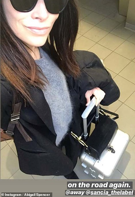 On her way! Abigail first sparked speculation that she was headed to Meghan's baby shower when she shared this image of herself with a suitcase on Instagram on Monday