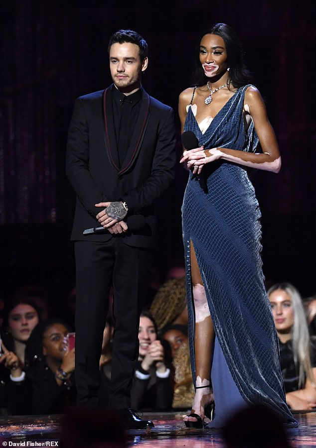 How sweet:Liam and Winnie, who forged a close friendship after rubbing shoulders at a number of fashion week events, bounced off each other while on stage