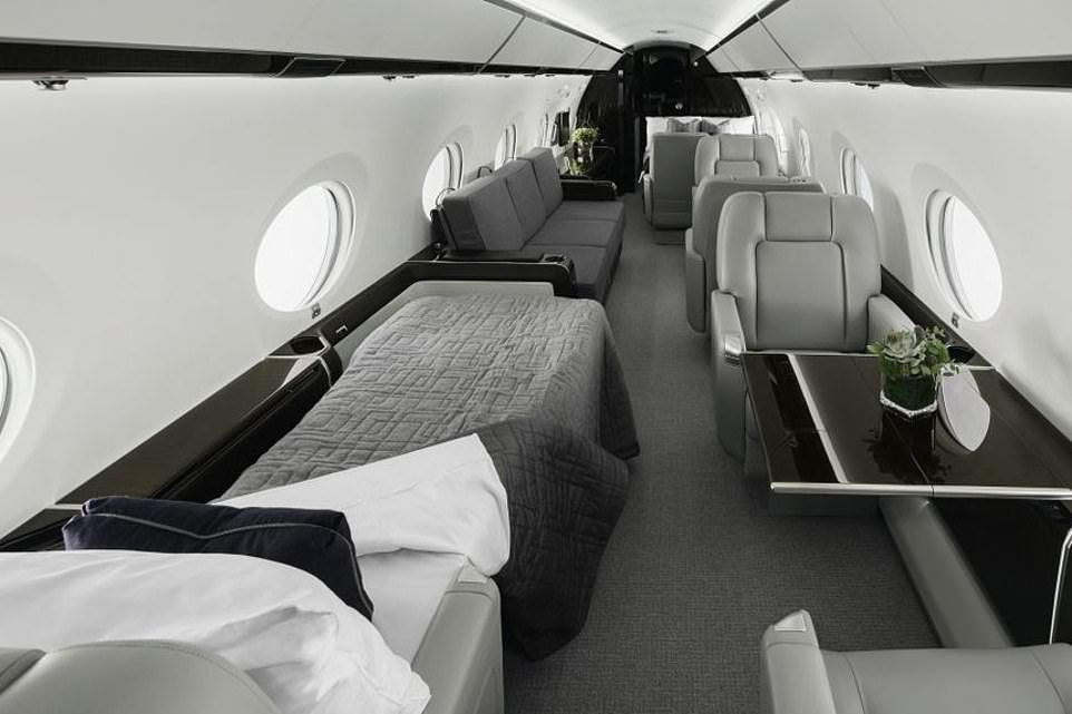 Style: There are a number of different design options available in the Gulfstream G450, however each plane boasts several convertible sleeping areas, like the one seen left, where passengers can lie flat and get some rest
