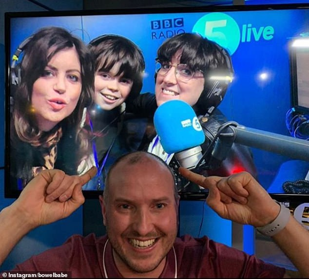 Deborah (left) presents the BBC Radio 5 Live podcast alongside Lauren Mohen (right) and Steve Bland (centre), who lost his wife Rachael to cancer last year. Pictured the group in the studio