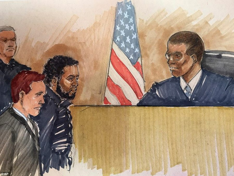 A sketch from inside the courtroom shows Smollett appearing before Cook County Judge John Fitzgerald to have his bond set. The judge said that if true, the allegations against him are 'utterly outrageous'. He was particularly disturbed by the use of a noose in the attack, saying it is an image which 'conjures up such evil in this country's history'