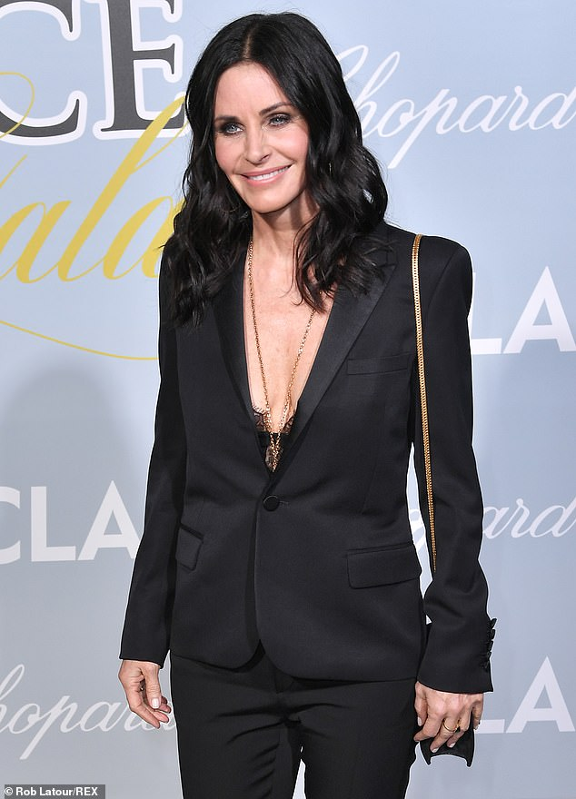 Glamazon: The actress wore a stunning black trouser suit worn with a lace top