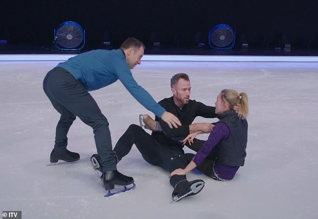 Shock fall: Things went disastrously wrong as James appeared to lose his footing and fall, dropping poor Alexandra on her head in the process