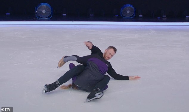 Dangerous: The star suffered a big blow in his quest for Dancing On Ice glory as he had a major set-back during training
