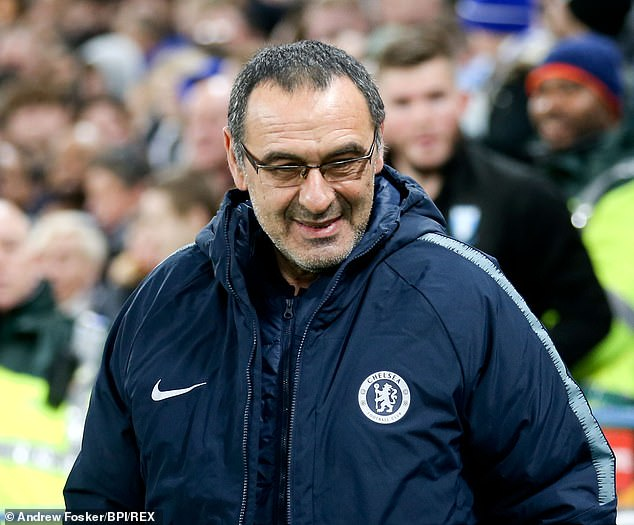 Maurizio Sarri, pictured at Stamford Bridge on Thursday, has a cup final to prepare Chelsea for