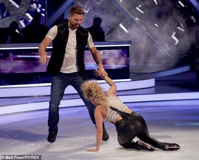 Whoops:James' ice rival Brian McFadden previously suffered a blunder on ice after dropping pro Alex Murphy during their routine