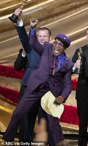 Purple reign: Spike Lee earned his first ever Oscar in the Best Adapted Screenplay category for BlacKkKlansman