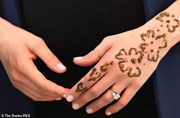During the visit the duchess took part in a henna ceremony - an ancient custom that is thought to have its roots in North Africa - and had a design painted on her left hand to celebrate her pregnancy