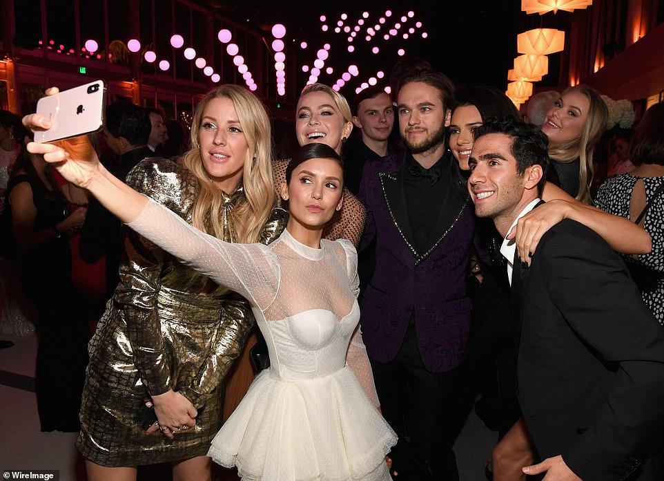 Selfie time: (L-R) Ellie Goulding, Julianne Hough, Nina Dobrev, Zedd, and Kendall all made sure to document the evening
