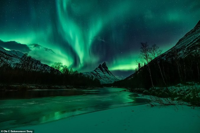 A photo taken by Ole showing the magical Northern Lights shining over a snowy landscape in Norway