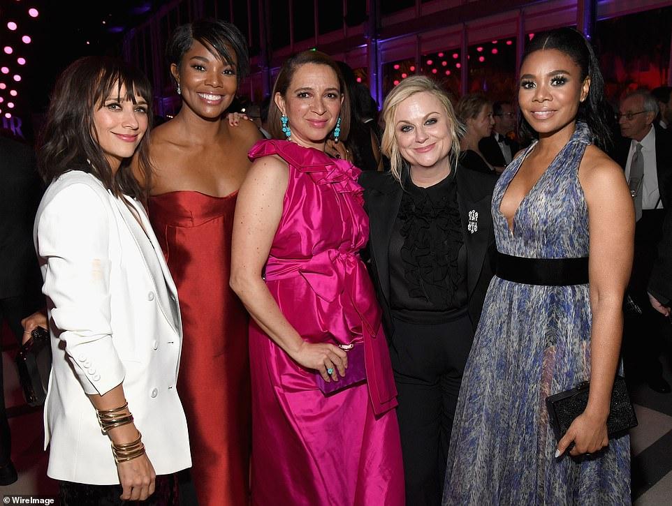 The host with the most: (L-R) Rashida Jones, Gabrielle, Maya Rudolph, Amy Poehler, and Regina Hall
