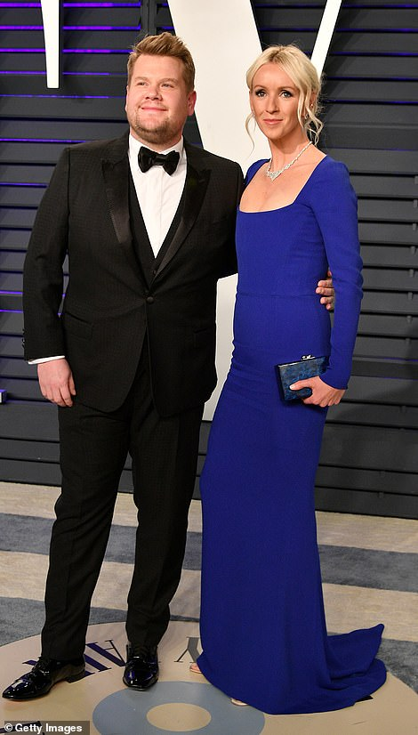 Stunning couple: James Corden appeared thrilled to arrive with his wife Julia Carey