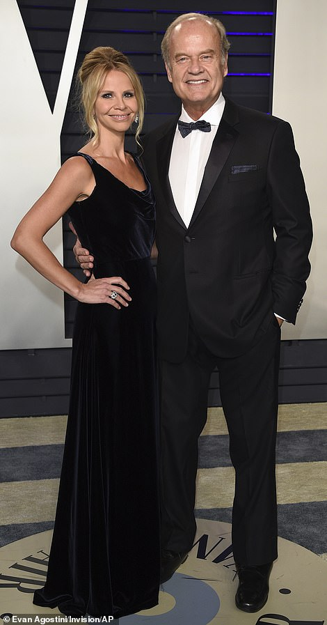 Back to black: Kelsey Grammer and Kayte Walsh, (left) andSam  and Aaron Taylor-Johnson, (right)