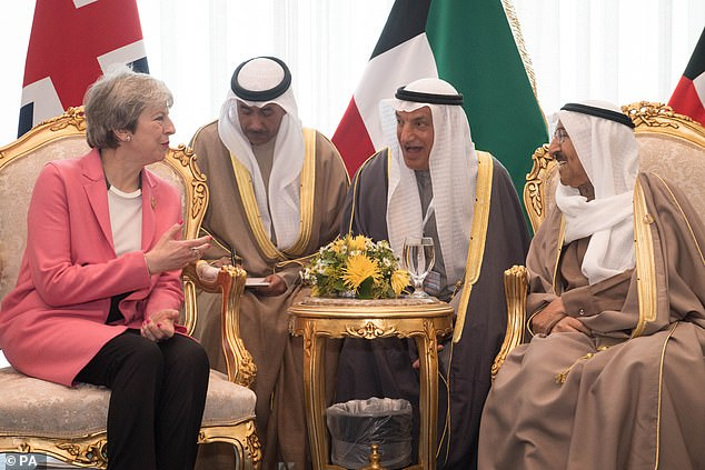 Mrs May also held talks with the Emir of Kuwait Sabah Al-Ahmad Al-Jaber Al-Sabah (pictured right) this morning