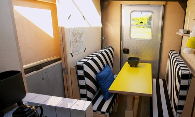 Without the expansion, the  cabin stands 6ft 6in wide, 11ft 5in long and 13ft tall, giving passengers plenty of space. It features a stylish seating area in the back, pictured