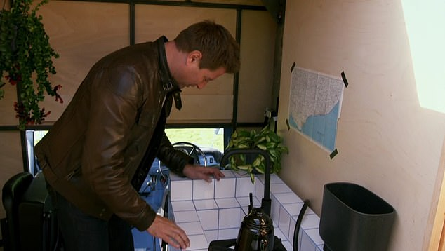Presenter George Clarke pointed out the light weight nature of the materials used within the van, which include a small working sink