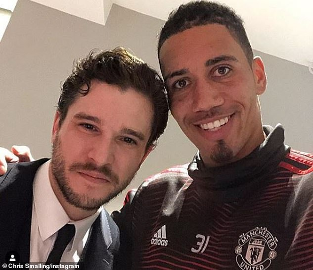 Chris Smalling (right) was delighted to meet Game of Thrones star Kit Harington