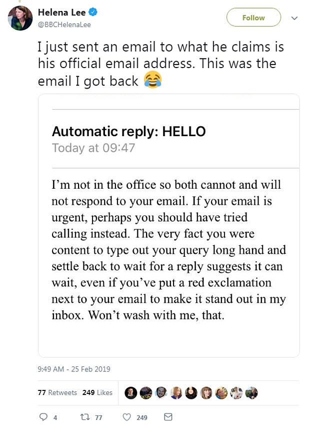 A screenshot of the email was tweeted by several BBC staff, including Jeremy Vine show producer Tim Johns.And savvy staff who replied to the email got a cheeky out of office response