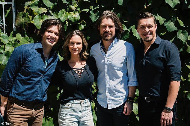 On set! The official Neighbours social media accounts also shared a photo of actress Zoe Cramond (second from left) with the band