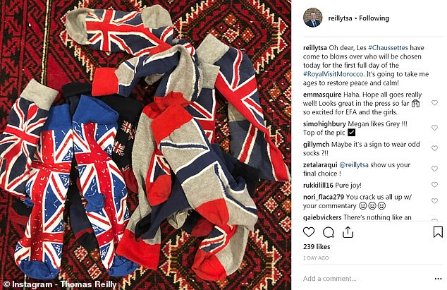 Mr. Reilly appears to own countless pairs of Union Jack socks and has been keeping his fans up to date with the daily struggle to choose the perfect pair for his royal engagements