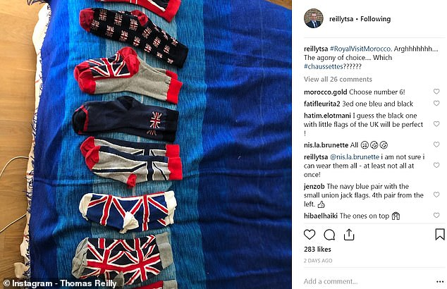 In this Instagram pic showing his extensive haul of patriotic socks, Mr. Reilly wrote: 'Arghhhhhh.... the agony of choice! Which #chaussettes [socks]?'