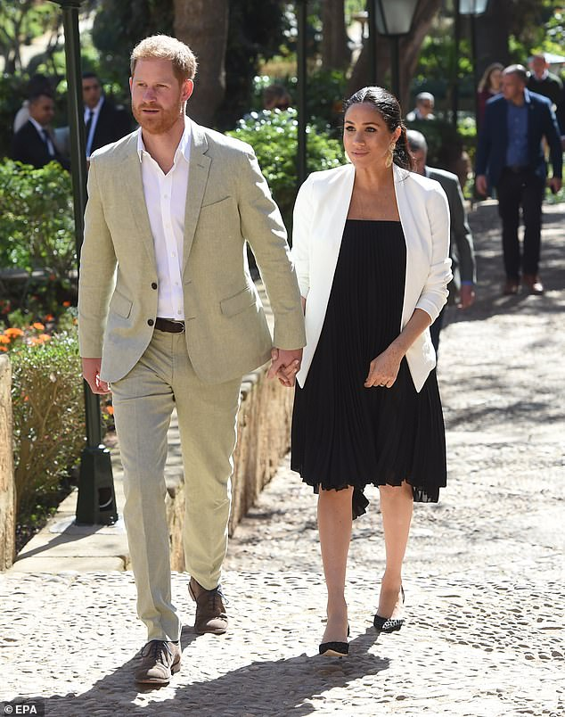 The Duke and Duchess of Sussex (pictured in Rabat on Monday) are heading back to London this afternoon as their action-packed Morocco tour comes to an end