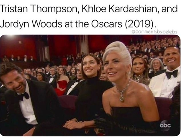 'Tristan Thompson, Khloe Kardashian, and Jordyn Woods at the Oscars,' they captioned the shot, referring to this week's revelation that Kylie Jenner's BFF had been caught making out with the NBA boyfriend of her big sister
