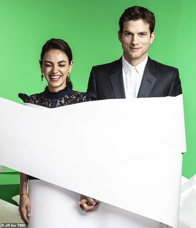 Happy twosome: Also at the event were married couple Ashton Kutcher and Mila Kunis