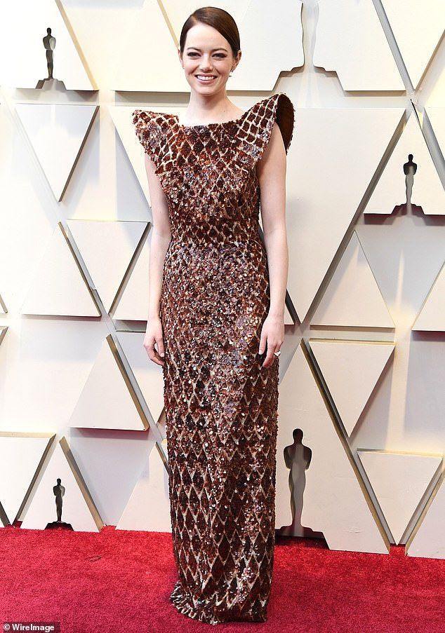 Glitz and glamour:Emma Stone wore a Louis Vuitton dress to the 2019 Academy Awards