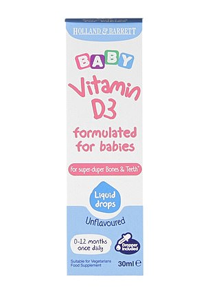 Holland and Barrett'sBaby Vitamin D3 formulated for babies liquid contains just 200IU of vitamin D