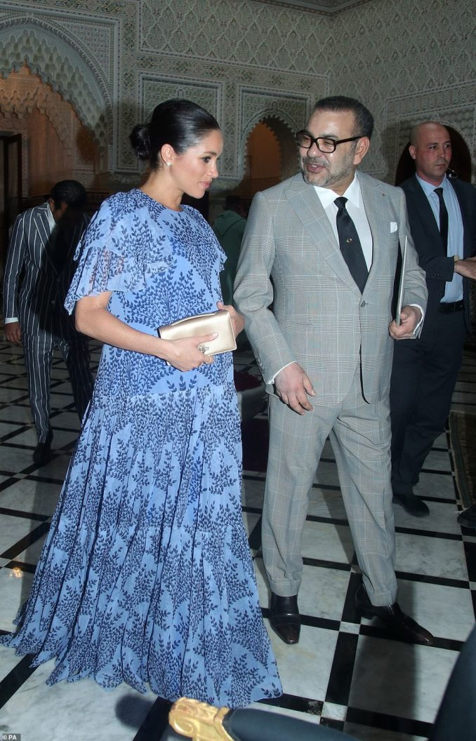 Meghan with King Mohammed VI at his Rabat residence.There was no sign of the King's wife Princess Salma, despite having natural common ground with Meghan as a keen supporter of women's rights