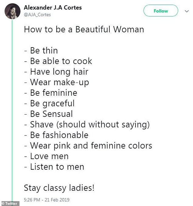 Say what? According to the 29-year-old, women should be able to cook, have long hair, wear makeup, be fashionable, and listen to men, among other things