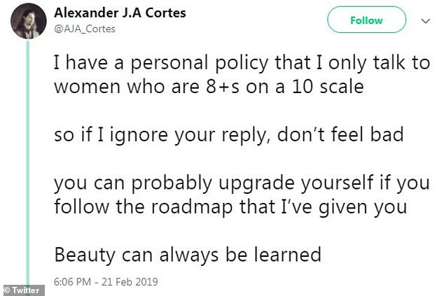 Sounds like a jerk: Alexander claimed he only talks to women 'who are 8+s on a 10 scale'
