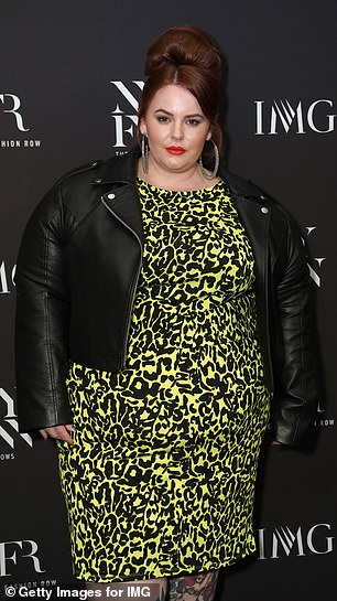 Confident: Tess (pictured during New York Fashion Week this year) has been a vocal advocate for self-love and body positivity for a number of years