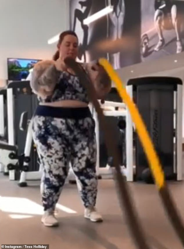Positive: Plus-size model Tess Holliday, 33, has shared a video showing her fitness regime that shows her performing a number of different exercises in a gym
