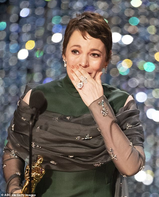 Olivia Colmanheld back tears as she went up to receive the award at the glitzy ceremony in Los Angeles