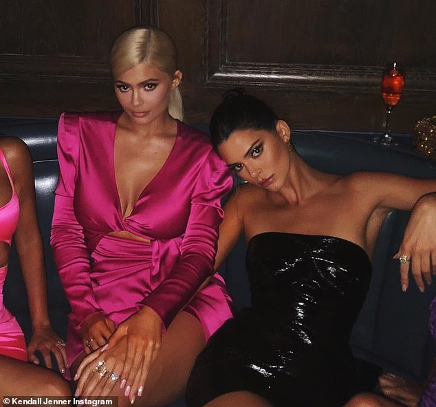 The red leather dress is similar to the Slick Rick style by the same brand, which she wore to Kylie Jenner's 21st birthday bash (pictured)