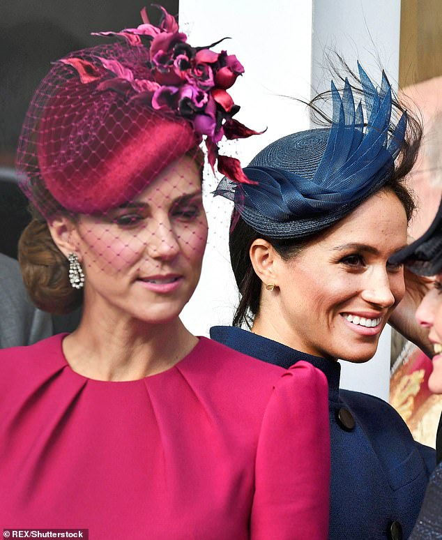 Kate and Meghan attending Princess Eugenie's wedding to Jack Brooksbank at Windsor Castle on 12 October. Meghan was a vision in Givenchy and her loose coat sparked the first rumours about a pregnancy