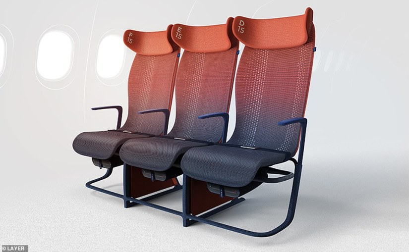 The new concept for airline seats designed by British-based designerBenjamin Hubert, from the Layer design agency. Passengers can control the comfort of the chair, including its shape and temperature, using their mobile phone