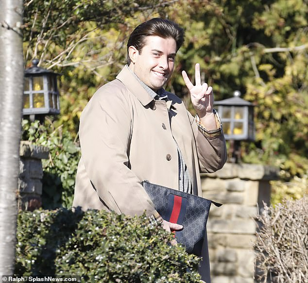 Happy? James Argent smiled as he was pictured for the first time since his split from Gemma Collins on Tuesday... after 'he said she had 'more rolls than Greggs' in abusive texts