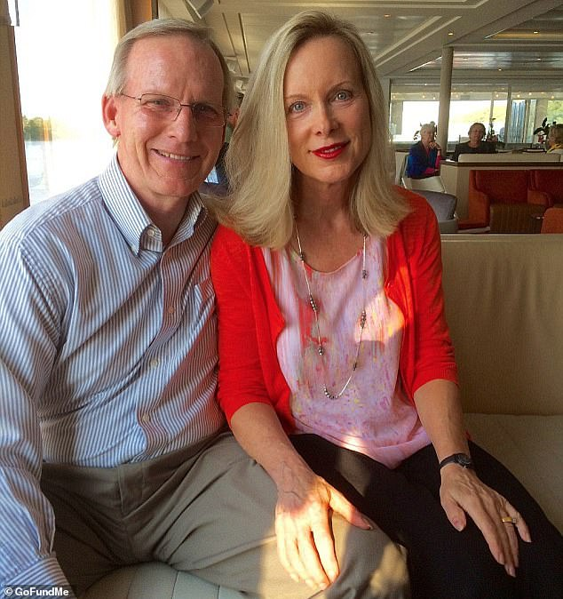 However, her insurance company - Blue Cross Blue Shield of Kansas - refused to pay for a pair of bionic hands, which were viewed as 'luxury items'. Picture: Dombo, right, and her husband John before the shooting