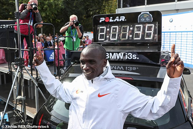 Kenyan runner Eliud Kipchoge (pictured) set the current men's world record time of 2 hours 1 minute and 39 seconds at the Berlin Marathon last September
