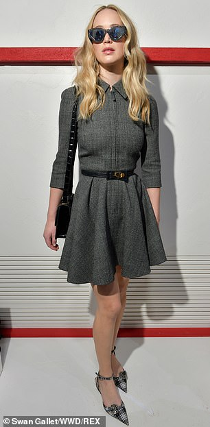 J'adore Dior! Jennifer teamed the garment with monochrome plaid kitten heels and a black patent leather Dior handbag