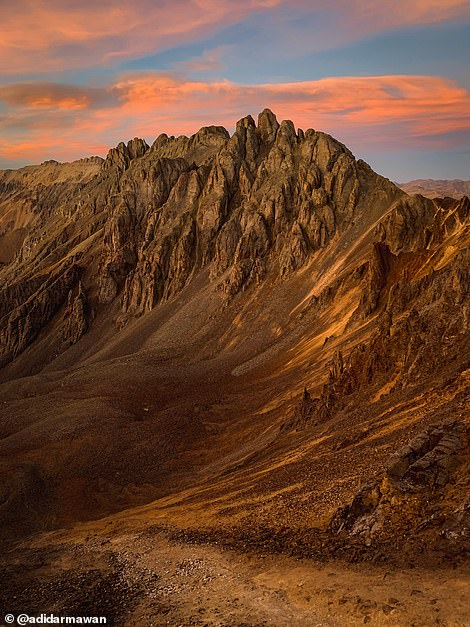 LieAdi Darmawan used an iPhone XS to take this striking photo showing the texture of the mountains, which the judges said 'evokes an old wrinkled face'