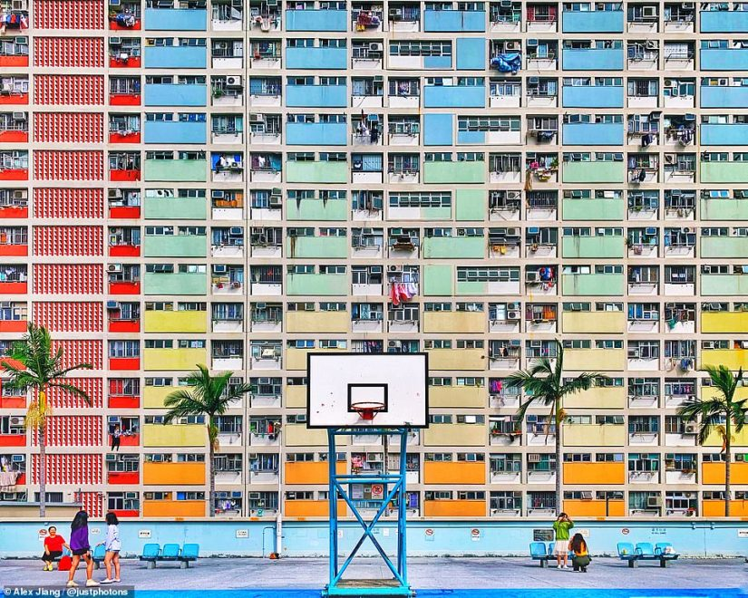 This photo by Alex Jiang was shot on an iPhone XS Max in Hong Kong. The judges said of the shot: 'The narrative in architecture. There is actually life behind the surface of an average apartment building in an unknown city. Vivid colors and a perfect composition with the basketball board right in the middle! Great eye'